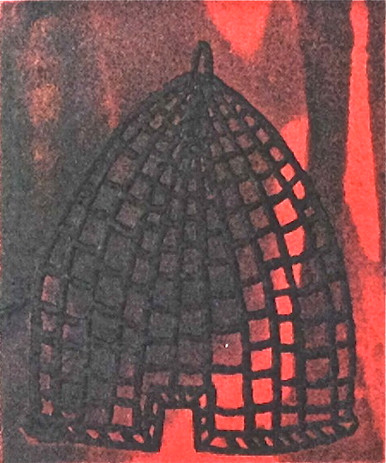 Jack Hanley, Bee Hive (red), 1990, etching, aquatint, w. chine collé
