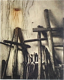 Salcido, Joel, Sangre de Christo, 2012, polymer photogravure, 15 x 11 in., w. chine collé and a la poupeé color, Flatbed Imp. II/IV