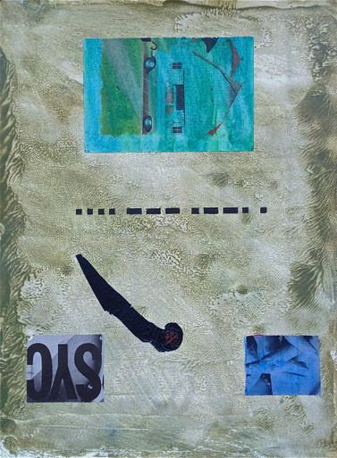 Smith, Mark L., Morse Code, Hope Suite, 2014, monotype, collage, mixed media, 24 x 18 in., archival carbon print avail.