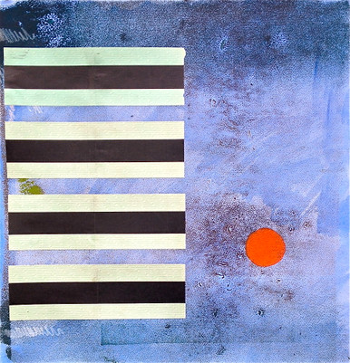 Smith, Mark L., Father Ball, 2014, acrylic, collage & monotype, 22 x 21-1/2 in.