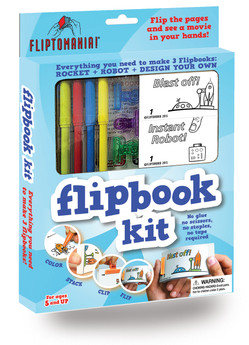 Fliptomania Flipbook Kits jump-starts kids into the world of animation. In this kit you color pre-drawn, pre-numbered images that you put in order, clip, and flip the pages to watch the action. You'll see a rocket ship blast-off past Saturn, and a little robot guy pop-up and hop on a skateboard! Plus you get a bonus of blank frames for you to create your own flipbook design! NO SCISSORS, GLUE, TAPE OR STAPLES!