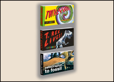 Dinosaur Flipbook 3-pack: T-Rex, Twirl-a-Saur, Raptor in a Tar Pit