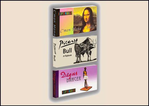 Fine Art Flip Book 3 Pack: Mona Lisa, Degas Dancer, Picasso's Bull