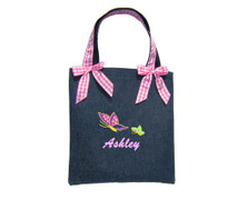 Kids Personalized Tote Bag in Denim with Bows
