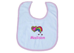 Personalized Baby Bib in Blue and White