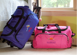 Personalized Rolling Duffel Bag.  Kids luggage for the on the go family.