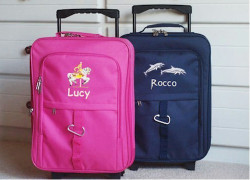 Kids Small Rolling carry-on pink and navy