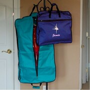 Kids garment bag folded and unfolded with embroidery and personalized name
