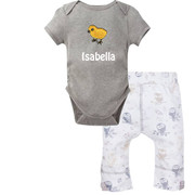 Gray bodysuit with owl pants and embroidery