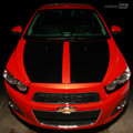 2012 & up Chevrolet SONIC Hood Decal Split Stripe Blackout