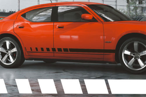 2006-2016 Dodge Charger & Magnum Side Strobe Rocker Panel Stripes Decals  2007 2008 2009