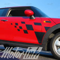 2014-2015 Mini Cooper Checkered Door Side Stripes Decals Graphics