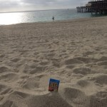 Nathan enjoys a Flax Pak on the beach.