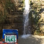 Alex and flax chia paks at a waterfall in the oasis of Ein Gedi.