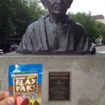 Steve gets some peace from Gandhi and his Flax Pak.