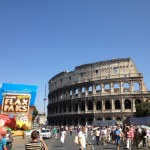 Karen's flax pak has a beautiful view of the Colosuem in Rome.