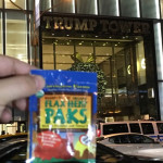 Stacy brings her Flax Hemp Paks when shopping on 5th Avenue in NYC