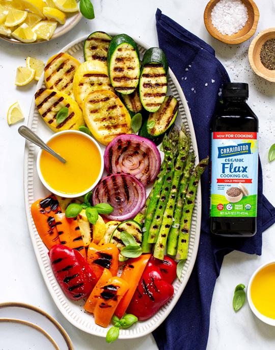 Grilled Summer Veggies with Lemon Flax Oil Vinaigrette