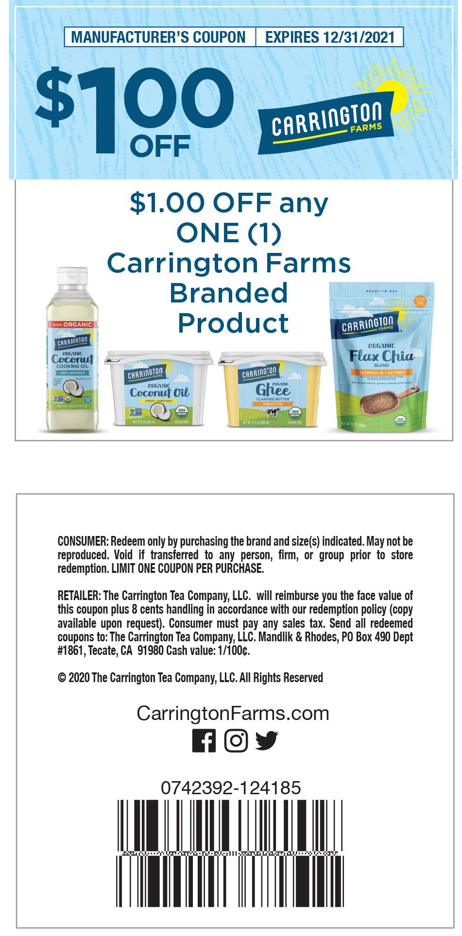 Carrington Farms In Store 2021 Coupon