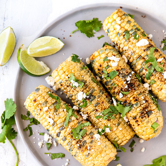 Grilled Corn with Chipotle, Lime and Feta Ghee Spread