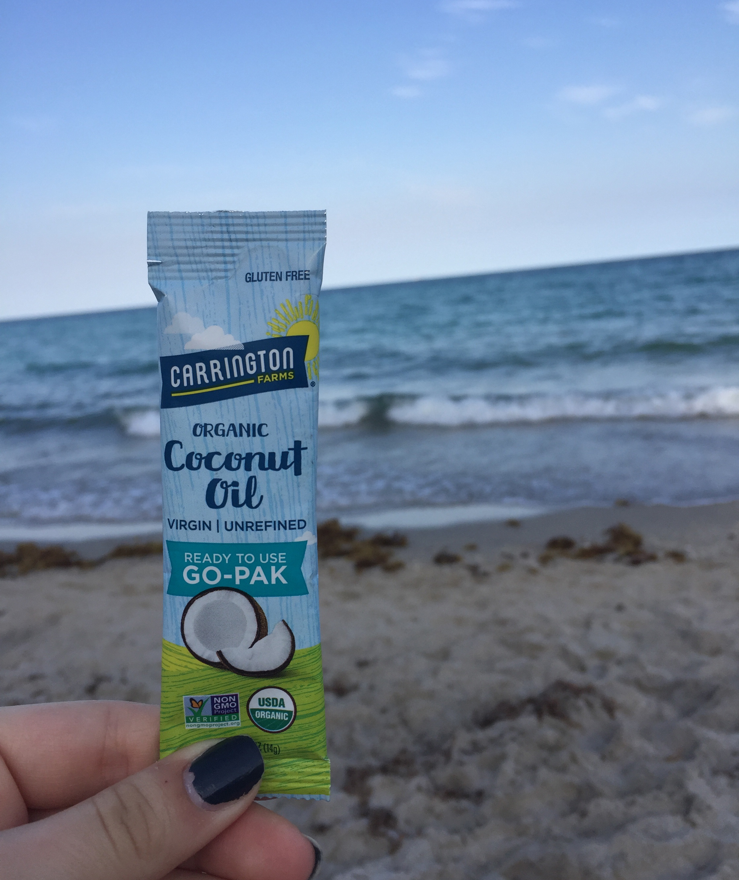 It is easy to relax on the beach in Hollywood, Florida when you have Coconut Oil Paks handy!