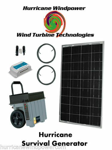 Hurricane Wind Power Survival Generator Portable Emergency Power 100W Solar Panel Off Grid