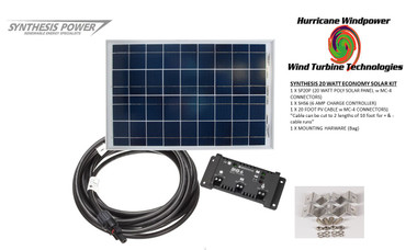 Solar Panel Starter Kit 20 Watt 12V PV Off Grid Kit for RV Boat Charge Control - Hurricane Wind Power