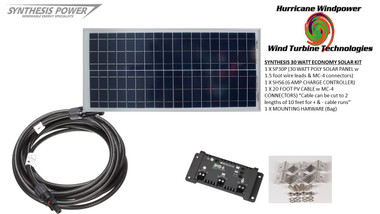 Solar Panel Starter Kit 30 Watt 12V PV Off Grid Kit for RV Boat Charge Control - Hurricane Wind Power