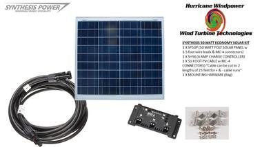 Solar Panel Starter Kit 50 Watt 12V PV Off Grid Kit for RV Boat Charge Control - Hurricane Wind Power