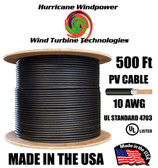 PV Cable 600V BLACK Solar PV Wire (MC4 compatable) 10AWG 500FT Double-Insulated