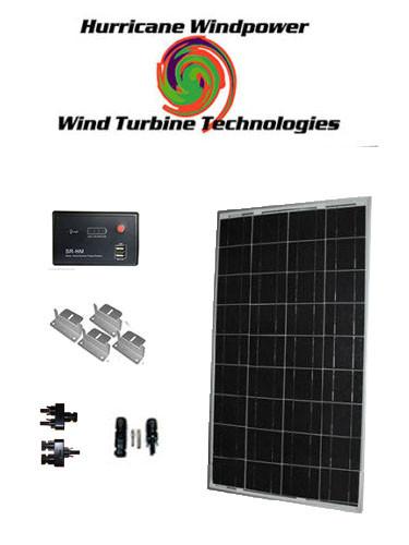 Hurricane Wind Power 100W Watts 12V Poly-Crystalline Solar Panel Off Grid Kit RV Boat DIY
