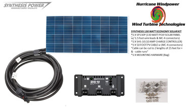 Solar Panel Starter Kit 130 Watt 12V PV Off Grid Kit for RV Boat Charge Control - Hurricane Wind Power