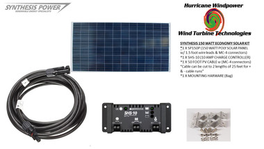 Solar Panel Starter Kit 150 Watt 12V PV Off Grid Kit for RV Boat Charge Control - Hurricane Wind Power