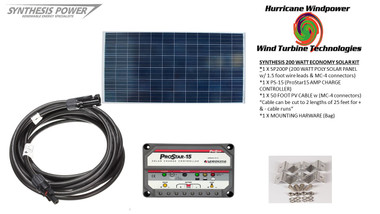 Solar Panel Starter Kit 200 Watt 12V PV Off Grid Kit for RV Boat Charge Control - Hurricane Wind Power