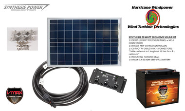 Solar Panel Kit 20 Watt 12V PV Off Grid for RV Boat w Charge Control and Battery - Hurricane Wind Power