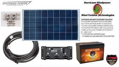 Solar Panel Kit 100 Watt 12V PV Off Grid Kit RV Boat Charge Control & Battery - Hurricane Wind Power