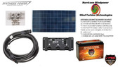 Solar Panel Kit 150 Watt 12V PV Off Grid for RV Boat Charge Control & Battery - Hurricane Wind Power