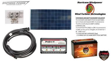 Solar Panel Kit 200 Watt 12V PV Off Grid for RV Boat Charge Control & Battery - Hurricane Wind Power