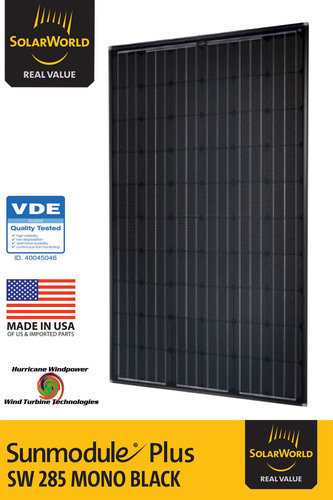 SOLARWORLD SUNMODULE PLUS SW 285 WATT MONO BLACK SOLAR PANEL 5 BB (LOT OF 6 SOLAR PANELS)