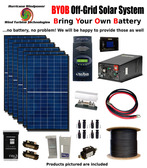BYOB Off-Grid 1740W 24V Solar Panel Kit Tiny House Cabin PV System Outback FM80