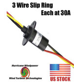 HEAVY 3 PHASE WIND TURBINE GENERATOR SLIP RING 30 AMP PER CONDUCTOR / WIRE