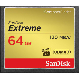 NOTICE:The item(s) are NOT coming with retail packing, But 100% Genuine   Capacity: 64 GB Read Speed: up to 120MB/s Write Speed: up to 85MB/s Video Speed: VPG-20 Form Factor: CompactFlash This industry-leading memory card is optimized for professional-grade video capture, with a minimum sustained write speed of 20MB/s1 for rich 4K and Full HD video. Sustained Performance for Any Situation The optimal combination of shot speed (up to 85MB/s1) sustained video performance guarantee (VPG-20)3, and transfer speed (up to 120MB/s); 16GB - 128GB cards only.  Ideal for use with mid-range to high-end DSLR cameras and HD camcorders, the SanDisk Extreme CompactFlash Memory Card delivers first-rate read/write speeds to catch fast action shots and enable quick file transfers. This memory card features Video Performance Guarantee (VPG-20) to deliver a minimum sustained recording data rate of 20MB/s3 to support high-quality Full HD video (1080p)4 recording. Take advantage of burst-mode photography with the card's write speeds of up to 85MB/s1 (567X) and enjoy efficient workflow with its transfer speeds up to 120MB/s2. With capacities up to 128GB5, this memory card provides plenty of storage for Full HD videos and RAW photos.  Exceptional Shot to Shot Performance With write speeds of up to 85MB/s1, the SanDisk Extreme CompactFlash Memory Card adds to your mid-range to-high-range DSLR's performance during burst-mode shooting, rapid shots, and RAW plus JPEG capture. The card records photos almost instantly, ensuring you will catch your best shot. Read speeds of up to 120MB/s2 make transferring images to your computer fast and simple.  Professional-Grade Video Capture Featuring a Video Performance Guarantee (VPG-20)3 profile specification, the SanDisk Extreme CompactFlash memory card can keep up with the steep memory demands of professional video equipment such as HD camcorders. The card's VPG-20 ensures data transfer between card and camera with a sustained data recording rate of 20MB/s2 for a smooth and unbroken video stream. You'll be able to record in resolutions as high as 1080p4 without skipped frames.  Durable Design SanDisk Extreme CompactFlash Memory Cards are designed to handle whatever life throws at you. This card is backed by rigorous stress, shock, and vibration testing and includes RTV silicone coating for protection against shock and vibration. It operates in nearly any climate, with a functioning temperature range of -13 to 185 degrees Fahrenheit.  High Storage Capacity The SanDisk Extreme CompactFlash memory card offers plenty of space to store high-resolution photos and Full HD4 videos. With capacities up to 128GB5, the card can store thousands of photos and hours of video.  Warranty The SanDisk Extreme CompactFlash Memory Card is backed by a lifetime limited warranty