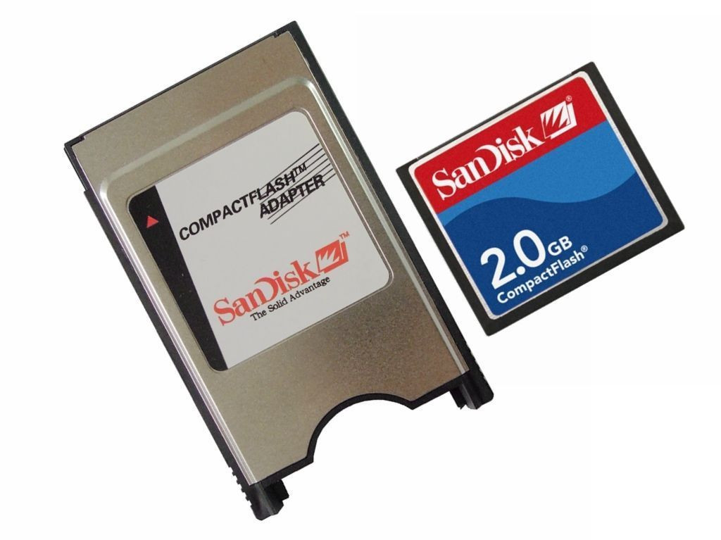 SanDisk CompactFlash Adapter PCMCIA PC Card Reader Compact Flash