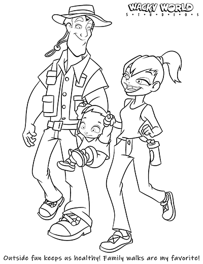Active Family Coloring Page