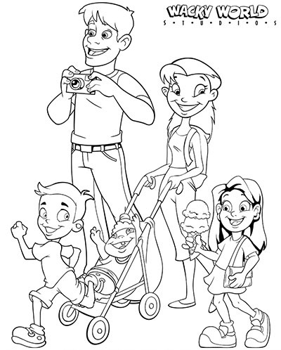 Beach Boardwalk Family Coloring Page