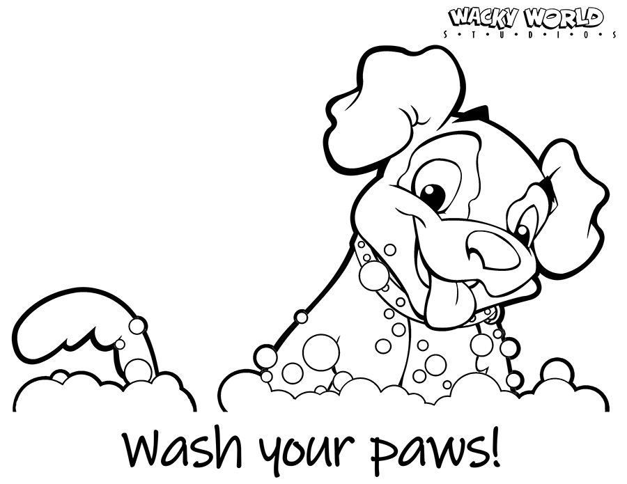 Dog Wash Coloring Page