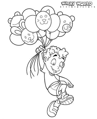 Kid with Balloons Coloring Page