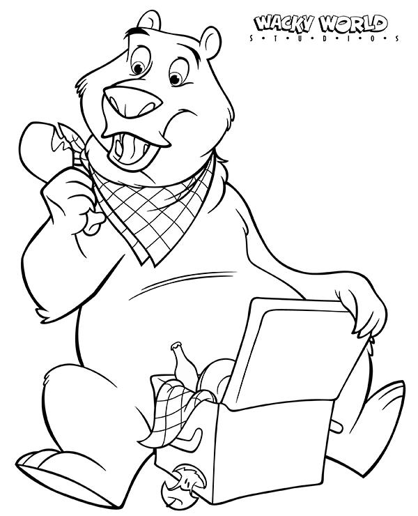Picnic Bear Coloring Page