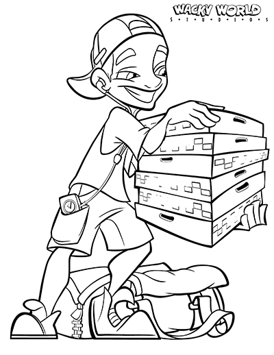 Pizza Guy Coloring Page