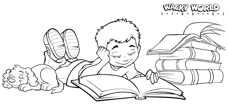 Reading at Home Coloring Page